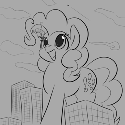 Size: 500x500 | Tagged: safe, artist:dendollae, pinkie pie, earth pony, pony, cute, diapinkes, exclamation point, female, giant pinkie pie, giant pony, grayscale, helicopter, macro, mare, monochrome, open mouth, smiling, solo