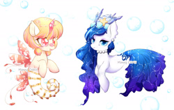 Size: 3031x1928 | Tagged: safe, artist:monnychanart, oc, oc only, hybrid, merpony, sea pony, starfish, adoptable, auction, blue eyes, blue mane, bubble, coral, female, fish tail, flowing mane, flowing tail, jewelry, necklace, open mouth, orange mane, pearl necklace, red eyes, seashell, simple background, smiling, sparkles, tail, underwater, white background