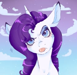 Size: 1241x1200 | Tagged: safe, artist:woollyart, rarity, pony, unicorn, alternative cutie mark placement, facial cutie mark, grumpy, looking at you, solo, tongue out