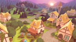 Size: 4096x2304 | Tagged: safe, artist:amishy, high angle, high res, no pony, ponyville, scenery, sunrise