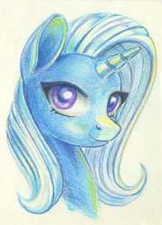 Size: 585x811 | Tagged: safe, artist:maytee, trixie, pony, unicorn, bust, colored pencil drawing, female, looking at you, mare, portrait, smiling, solo, traditional art