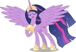 Size: 10000x6845 | Tagged: safe, artist:chrzanek97, artist:yanoda, twilight sparkle, alicorn, pony, the last problem, .svg available, absurd resolution, crown, ethereal mane, ethereal tail, eyes closed, female, hoof shoes, inkscape, jewelry, mare, older, older twilight, open mouth, peytral, pointing at self, princess twilight 2.0, raised hoof, regalia, simple background, singing, starry mane, starry tail, the magic of friendship grows, transparent background, twilight sparkle (alicorn), vector