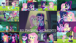 Size: 1280x721 | Tagged: safe, edit, edited screencap, editor:quoterific, screencap, angel bunny, fluttershy, pinkie pie, sci-twi, spike, spike the regular dog, twilight sparkle, bird, dog, rabbit, dance magic, eqg summertime shorts, equestria girls, equestria girls (movie), equestria girls series, friendship games, perfect day for fun, rainbow rocks, raise this roof, road trippin, rollercoaster of friendship, star crossed, stressed in show, stressed in show: fluttershy, text support, the finals countdown, the road less scheduled, spoiler:eqg series (season 2), spoiler:eqg specials, :o, angelbetes, animal, backpack, boots, bowtie, canterlot high, chalkboard, clothes, cute, cutie mark, cutie mark on clothes, eyes closed, fall formal outfits, female, geode of fauna, geode of telekinesis, glasses, hairpin, jewelry, lesbian, magical geodes, male, microphone, microphone stand, mirror, musical instrument, necklace, offscreen character, open mouth, photo booth (song), ponied up, ponytail, sandals, shipping, shoes, shyabetes, tambourine, text support: fluttershy, twiabetes, twilight ball dress, twishy, wings