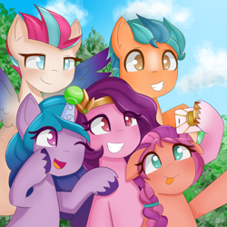 Size: 1920x1920 | Tagged: safe, artist:sunnyroop23, hitch trailblazer, izzy moonbow, pipp petals, sunny starscout, zipp storm, earth pony, pegasus, pony, unicorn, g5, adorapipp, adorazipp, ball, braid, cellphone, cloud, colored wings, cute, eyelashes, female, hitchbetes, hoof hold, horn, horn guard, horn impalement, hornball, izzy's tennis ball, izzybetes, male, mane five (g5), mare, multicolored wings, one eye closed, phone, raised hoof, selfie, sky, smartphone, smiling, spread wings, stallion, sunnybetes, teeth, tennis ball, tongue out, tree, unshorn fetlocks, wall of tags, wings, wink