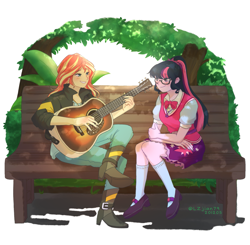 Size: 1409x1380   Tagged: safe, artist:lzjian79, sci-twi, sunset shimmer, twilight sparkle, equestria girls, bench, blushing, boots, clothes, crossed legs, eyebrows, eyebrows visible through hair, female, glasses, guitar, lesbian, looking at each other, musical instrument, scitwishimmer, shipping, shoes, sitting, smiling, smiling at each other, socks, sunsetsparkle
