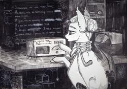 Size: 3096x2153   Tagged: safe, artist:alrumoon_art, oc, oc only, oc:alruna moonrise, bat pony, pony, spider, clothes, cyrillic, grayscale, hair bun, hatching, monochrome, scarf, solo, spider web, teary eyes, translation request