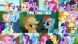 Size: 1280x721 | Tagged: safe, edit, edited screencap, editor:quoterific, screencap, applejack, bon bon, dj pon-3, fluttershy, lyra heartstrings, octavia melody, pinkie pie, rainbow dash, rarity, starlight glimmer, sweetie drops, trixie, twilight sparkle, vinyl scratch, alicorn, earth pony, pegasus, pony, unicorn, canterlot boutique, grannies gone wild, griffon the brush off, no second prances, non-compete clause, pinkie apple pie, pinkie pride, season 1, season 2, season 3, season 4, season 5, season 6, season 8, secret of my excess, slice of life (episode), the crystal empire, the hooffields and mccolts, top bolt, trade ya, spoiler:s08, ^^, adorabon, applejack's hat, cowboy hat, cute, dashabetes, diapinkes, diatrixes, duo, duo female, duo focus, eyes closed, female, flying, glimmerbetes, hat, hoofbump, jackabetes, laughing, leaf moustache, lesbian, lyrabetes, lyrabon, mane six, mare, open mouth, raribetes, shipping, shyabetes, smiling, sugarcube corner, twilight sparkle (alicorn), twilight's castle, unicorn twilight, wall of tags