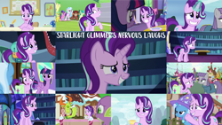 Size: 1280x721 | Tagged: safe, edit, edited screencap, editor:quoterific, screencap, berry blend, berry bliss, citrine spark, derpy hooves, discord, fire quacker, huckleberry, maud pie, mercury, roseluck, sandbar, silverstream, spike, starlight glimmer, starry eyes (character), thorax, trixie, twilight sparkle, yona, alicorn, changedling, changeling, draconequus, dragon, earth pony, pony, unicorn, yak, a horse shoe-in, a matter of principals, all bottled up, every little thing she does, no second prances, rock solid friendship, season 6, season 7, season 8, season 9, student counsel, the crystalling, the maud couple, to where and back again, triple threat, uncommon bond, adorkable, cute, dork, eyes closed, female, friendship express, friendship student, grin, king thorax, laughing, magic, male, mare, nervous, nervous grin, nervous laugh, offscreen character, open mouth, smiling, stallion, sugarcube corner, telekinesis, twilight sparkle (alicorn), twilight's castle