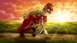 Size: 1920x1080 | Tagged: safe, artist:lupiarts, oc, oc only, oc:heroic armour, pony, unicorn, boots, cape, clothes, duo, father and child, father and daughter, female, filly, hat, horn, male, ponies riding ponies, red mage, riding, shoes, sleeping, stallion, sunset, sword, unicorn oc, weapon