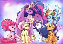 Size: 3500x2458 | Tagged: safe, artist:lrusu, applejack, fluttershy, pinkie pie, rainbow dash, rarity, twilight sparkle, alicorn, earth pony, pegasus, unicorn, the last problem, applejack's hat, clothes, cowboy hat, crown, ethereal mane, ethereal tail, eyes closed, female, flying, granny smith's shawl, group shot, hat, hoof on head, hoof shoes, jacket, jewelry, looking at each other, mane six, mare, midair, older, older applejack, older fluttershy, older mane six, older pinkie pie, older rainbow dash, older rarity, older twilight, open mouth, peytral, princess twilight 2.0, profile, raised hoof, regalia, short hair, spread wings, standing, starry mane, starry tail, stetson, twilight sparkle (alicorn), wings