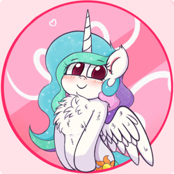 Size: 1380x1372   Tagged: safe, artist:kqaii, princess celestia, alicorn, pony, blushing, chest fluff, cute, cutelestia, doodle, eye, female, fluffy, happy, looking at you, mare, sketch, smiling, solo, weapons-grade cute