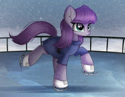 Size: 1860x1446 | Tagged: safe, artist:janelearts, maud pie, earth pony, pony, ear fluff, female, ice skates, ice skating, mare, snow, snowfall, solo, winter