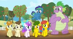 Size: 3762x2025   Tagged: safe, artist:aleximusprime, pound cake, princess flurry heart, pumpkin cake, spike, oc, oc:annie smith, oc:apple chip, oc:storm streak, alicorn, dragon, earth pony, pegasus, pony, unicorn, flurry heart's story, apple, apple tree, bow, cake twins, fat, fat spike, female, filly, filly flurry heart, food, hair bow, offspring, older, older flurry heart, older pound cake, older pumpkin cake, older spike, parent:applejack, parent:oc:thunderhead, parent:rainbow dash, parent:tex, parents:canon x oc, parents:texjack, siblings, sweet apple acres, tree, twins, winged spike, wings