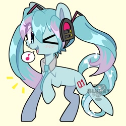 Size: 2048x2048 | Tagged: safe, artist:epic_gamerpone, kotobukiya, earth pony, pony, anime, hair highlight, hatsune miku, headphones, kotobukiya hatsune miku pony, necktie, ponified, simple background, speech bubble, vocaloid, watermark