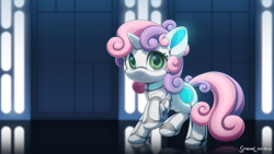 Size: 3200x1800 | Tagged: safe, artist:symbianl, sweetie belle, pony, robot, robot pony, cute, diasweetes, high res, solo, star wars, sweetie bot