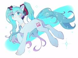 Size: 2048x1530 | Tagged: safe, artist:leafywind, kotobukiya, earth pony, pony, anime, hatsune miku, headphones, kotobukiya hatsune miku pony, necktie, ponified, solo, vocaloid