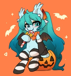 Size: 1456x1571   Tagged: safe, artist:colorfulcolor233, kotobukiya, bat, bat pony, pony, anime, bat wings, blushing, bow, bowtie, candy, candy cane, clothes, crossover, cute, fangs, food, halloween, halloween miku, hatsune miku, holiday, jack-o-lantern, kotobukiya hatsune miku pony, licking, orange background, ponified, pumpkin, simple background, socks, solo, striped socks, tongue out, vocaloid, wings