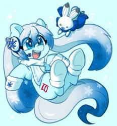 Size: 1456x1571   Tagged: safe, artist:colorfulcolor233, kotobukiya, earth pony, pony, rabbit, animal, anime, blue background, booties, clothes, crossover, cute, earmuffs, female, hatsune miku, headphones, kotobukiya hatsune miku pony, mare, open mouth, ponified, rabbit yukine, scarf, simple background, snow, snow miku, snowflake, solo, vocaloid, winter