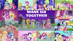Size: 1280x720 | Tagged: safe, edit, edited screencap, editor:quoterific, screencap, applejack, diamond mint, fluttershy, parasol, pinkie pie, rainbow dash, rarity, spike, twilight sparkle, alicorn, dragon, earth pony, pegasus, pony, unicorn, a friend in deed, all bottled up, fame and misfortune, lesson zero, magical mystery cure, season 1, season 2, season 3, season 4, season 5, season 6, season 7, the best night ever, the crystalling, the cutie map, the cutie re-mark, the return of harmony, the saddle row review, the ticket master, twilight's kingdom, what about discord?, ^^, a true true friend, animation error, applejack is not amused, applejack's hat, at the gala, best friends until the end of time, big crown thingy, carousel boutique, clothes, confused, cowboy hat, cute, dashabetes, diapinkes, dress, element of generosity, element of honesty, element of kindness, element of laughter, element of loyalty, element of magic, elements of harmony, eyes closed, female, flying, gala dress, golden oaks library, gritted teeth, group hug, happy, hat, hatless, hug, jackabetes, jewelry, let the rainbow remind you, looking at you, male, mane seven, mane six, mare, missing accessory, night, open mouth, pinkie pie riding applejack, ponies riding ponies, raised hoof, raribetes, regalia, riding, shyabetes, smile song, smiling, spikabetes, stallion, surprised, teeth, twiabetes, twilight sparkle (alicorn), twilight's castle, unamused, unicorn twilight, wall of tags, waving, waving at you, we're not flawless
