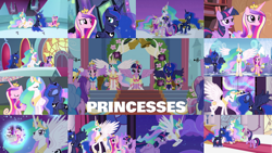 Size: 1280x721 | Tagged: safe, edit, edited screencap, editor:quoterific, screencap, amethyst star, amethyst stone, applejack, fleur de verre, linky, princess cadance, princess celestia, princess flurry heart, princess luna, shoeshine, sparkler, spike, twilight sparkle, alicorn, dragon, earth pony, pony, a royal problem, equestria games (episode), equestria girls, equestria girls (movie), horse play, magical mystery cure, princess spike (episode), school daze, season 3, season 4, season 5, season 7, season 8, the crystal empire, three's a crowd, twilight's kingdom, baby, baby pony, clothes, coronation dress, crown, cute, cutedance, dress, element of magic, eyes closed, female, flying, jewelry, mare, night, open mouth, regalia, royal guard, sisters-in-law, smiling, spread wings, sunglasses, twilight sparkle (alicorn), wings, you'll play your part
