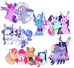 Size: 3500x3240   Tagged: safe, artist:babypaste, applejack, coloratura, pinkie pie, rarity, screwball, starlight glimmer, trixie, twilight sparkle, oc, oc:bunny hop, oc:happy daze, oc:majesty, oc:raspberry pie, oc:scroll flame, oc:sleepy pie, oc:splat pie, oc:twinkle wish, oc:vanity, alicorn, earth pony, hybrid, pegasus, pony, unicorn, adopted offspring, applepie, baby, baby pony, bowtie, curved horn, female, glasses, hat, horn, hug, lesbian, magical lesbian spawn, magical threesome spawn, male, mother and child, mother and daughter, mother and son, multiple parents, offspring, parent:applejack, parent:coloratura, parent:pinkie pie, parent:pokey pierce, parent:princess luna, parent:rarity, parent:screwball, parent:starlight glimmer, parent:trixie, parent:twilight sparkle, parents:pokeyball, parents:rarajackpie, parents:startrix, parents:twiluna, polyamory, rara, rarajack, rarajackpie, shipping, simple background, startrix, top hat, twilight sparkle (alicorn), white background, winghug, wings