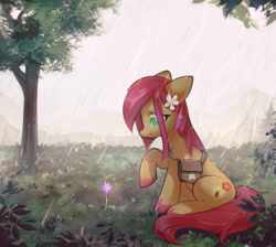 Size: 3497x3139 | Tagged: safe, artist:mirroredsea, oc, oc only, earth pony, pony, earth pony oc, flower, flower in hair, rain, solo