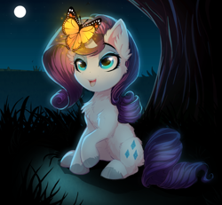 Size: 800x738 | Tagged: safe, artist:lucid-guardian, rarity, butterfly, insect, pony, unicorn, chest fluff, commission, cute, ear fluff, female, glow, happy, leg fluff, mare, moon, night, raribetes, sitting, smiling, tree, unshorn fetlocks, weapons-grade cute