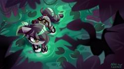 Size: 4096x2301 | Tagged: safe, artist:nekosnicker, oc, oc only, oc:nassa ciprière, snake, zebra, crossbow, solo, swamp, zebra oc