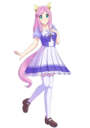 Size: 2605x3684 | Tagged: safe, artist:himo, fluttershy, human, anime, clothes, crossover, cute, eared humanization, female, humanized, humanoid, moe, school uniform, shyabetes, skirt, solo, uma musume pretty derby