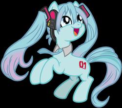 Size: 1024x904 | Tagged: safe, artist:emeraldblast63, kotobukiya, earth pony, pony, anime, hatsune miku, headphones, kotobukiya hatsune miku pony, necktie, ponified, simple background, transparent background, vocaloid