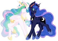 Size: 2930x2047 | Tagged: safe, artist:mscolorsplash, princess celestia, princess luna, alicorn, pony, blue mane, colored pupils, crown, duo, duo female, ethereal mane, female, flowing mane, green eyes, high res, hoof shoes, horn, jewelry, looking at each other, mare, multicolored hair, purple eyes, regalia, royal sisters, siblings, silly, silly pony, simple background, sisters, starry mane, starry tail, tongue out, transparent background