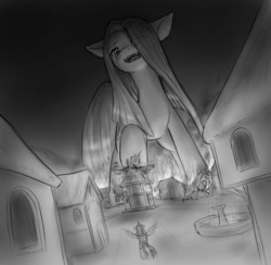 Size: 739x720 | Tagged: safe, artist:alloyrabbit, pinkie pie, twilight sparkle, alicorn, earth pony, pony, boss fight, destruction, female, giant pony, giantess, houses, macro, mare, mega giant, monochrome, pinkamena diane pie, ponyville, town hall, twilight sparkle (alicorn)
