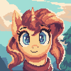 Size: 2000x2000 | Tagged: safe, artist:vanillaghosties, sunset shimmer, pony, unicorn, bust, clothes, colored pupils, cute, looking at you, pixel art, portrait, scarf, shimmerbetes, smiling, solo, tree