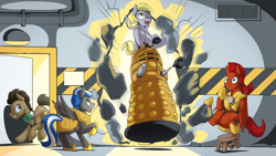 Size: 2560x1440   Tagged: safe, artist:mysticalpha, derpy hooves, doctor whooves, time turner, oc, oc:captain sunride, oc:cloud zapper, earth pony, pegasus, pony, armor, dalek, doctor who, doctorderpy, female, male, mare, pegasus oc, royal guard, royal guard armor, royal guard oc, shipping, stallion, straight, the doctor