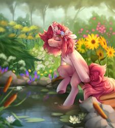 Size: 1900x2100 | Tagged: safe, artist:shady-bush, oc, pony, unicorn, female, floral head wreath, flower, mare, reed, solo, sunflower