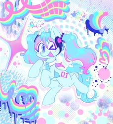Size: 939x1024 | Tagged: safe, artist:creepincrawl, kotobukiya, pony, anime, blushing, hatsune miku, headphones, kotobukiya hatsune miku pony, necktie, one eye closed, open mouth, open smile, ponified, smiling, solo, vocaloid, wink