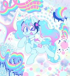 Size: 939x1024 | Tagged: safe, alternate version, artist:creepincrawl, kotobukiya, pony, anime, blushing, hatsune miku, headphones, kotobukiya hatsune miku pony, necktie, one eye closed, open mouth, open smile, ponified, smiling, solo, vocaloid, wink