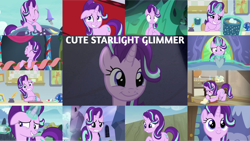Size: 1280x721 | Tagged: safe, edit, edited screencap, editor:quoterific, screencap, starlight glimmer, changeling, pony, unicorn, a hearth's warming tail, a royal problem, all bottled up, every little thing she does, marks for effort, no second prances, road to friendship, rock solid friendship, student counsel, the crystalling, to change a changeling, to where and back again, uncommon bond, ^^, cute, eyes closed, female, glimmerbetes, laughing, mare, smiling