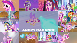 Size: 1280x720   Tagged: safe, edit, edited screencap, editor:quoterific, screencap, amber waves, applejack, bright smile, castle (crystal pony), crystal arrow, crystal beau, elbow grease, paradise (crystal pony), princess cadance, princess flurry heart, rarity, shining armor, spike, starlight glimmer, sunburst, twilight sparkle, alicorn, changeling, crystal pony, dragon, earth pony, pony, unicorn, once upon a zeppelin, princess spike (episode), season 3, season 4, season 6, season 7, season 9, the beginning of the end, the crystal empire, the times they are a changeling, three's a crowd, angry, applejack's hat, armor, baby, baby pony, blast, cadance is not amused, cowboy hat, crown, crystal heart, dragons riding ponies, element of generosity, element of honesty, eyes closed, female, flying, glasses, glowing horn, gritted teeth, hat, horn, jewelry, laser, magic, magic aura, magic blast, male, night, open mouth, regalia, riding, starlight is not amused, sunburst is not amused, teeth, twilight is not amused, twilight sparkle (alicorn), unamused