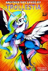 Size: 730x1095   Tagged: safe, artist:liaaqila, artist:nouseyourname, princess celestia, alicorn, pony, cape, clothes, female, mare, smiling, solo, superman, supermare, trollestia, trolling