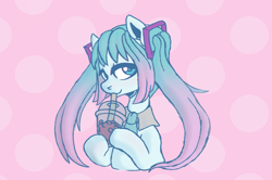 Size: 4977x3308 | Tagged: safe, artist:pidffee, kotobukiya, earth pony, pony, absurd resolution, anime, blue, blue eyes, boba tea, bubble tea, crossover, drink, drinking, drinking straw, female, hatsune miku, holding, kotobukiya hatsune miku pony, looking at you, mare, multicolored hair, multicolored mane, necktie, pigtails, pink, pink background, ponified, simple background, solo, vocaloid