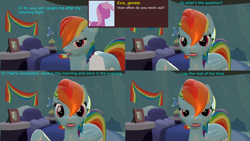 Size: 3840x2160 | Tagged: safe, artist:sexy rd, rainbow dash, pegasus, pony, series:ask sexy rainbow dash, 3d, alternate universe, ask, blushing, butt, comic, female, high res, large butt, lipstick, mare, plot, rainbow dash's bedroom, rainbow dash's house, rainbutt dash, revamped ponies, room, solo, source filmmaker, wet, wet mane