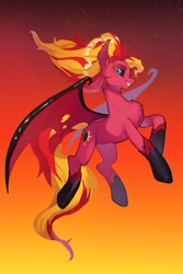 Size: 2333x3500   Tagged: safe, artist:ikirunosindo, sunset shimmer, demon, demon pony, pony, equestria girls, equestria girls (movie), big tail, black sclera, chest fluff, demon wings, equestria girls ponified, fangs, female, flying, glossy, glowing eyes, gradient background, high res, hoof shoes, looking at you, mare, midair, nightmare sunset, ponified, race swap, raised hoof, smiling, solo, stars, sunset satan, tattered, tattered wings, torn ear, windswept mane, wings