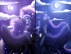 Size: 3189x2422 | Tagged: safe, artist:bluediamondoficial01, nightmare moon, princess luna, alicorn, pony, blue mane, cloud, ethereal mane, female, flowing mane, helmet, high res, horn, looking up, mare, moon, moonlight, night, sad, signature, sky, starry mane, watermark, wings
