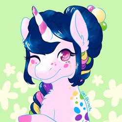 Size: 3000x3000   Tagged: safe, artist:kirakiracalico, oc, oc only, pony, unicorn, abstract background, braid, bust, colored hooves, ear fluff, eyelashes, female, horn, mare, one eye closed, signature, smiling, solo, unicorn oc, wink