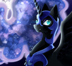 Size: 1280x1164 | Tagged: safe, artist:nekane-b-a, nightmare moon, alicorn, pony, blue eyes, blue mane, colored pupils, ear fluff, ethereal mane, female, flowing mane, grin, helmet, horn, moonlight, night, redraw, smiling, solo, spread wings, starry mane, wings
