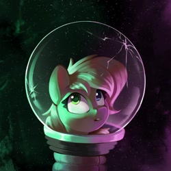 Size: 1532x1532 | Tagged: safe, artist:rexyseven, oc, oc only, oc:rusty gears, earth pony, pony, :o, astronaut, female, helmet, heterochromia, mare, not applejack, open mouth, solo, space, spacesuit, this will end in death, this will not end well