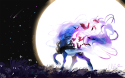 Size: 1200x749 | Tagged: safe, artist:elfiefox, princess luna, alicorn, bat, pony, bat cloak, blue eyes, blue mane, ethereal mane, female, flowing mane, flowing tail, flying, folded wings, grass, hoof shoes, horn, looking up, moon, moonlight, night, signature, smiling, solo, starry mane, stars, wings