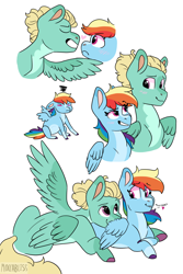 Size: 1560x2331   Tagged: safe, artist:moccabliss, rainbow dash, zephyr breeze, pegasus, pony, blaze (coat marking), blushing, boop, coat markings, colored hooves, cute, facial markings, female, heart, heart eyes, looking at each other, lying down, male, mare, noseboop, pale belly, pregnant, prone, shipping, simple background, smiling, socks (coat markings), spread wings, stallion, straight, tsunderainbow, tsundere, two toned wings, white background, wingding eyes, wings, zephdash