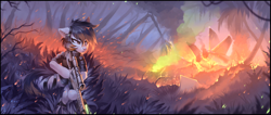 Size: 3522x1490 | Tagged: safe, artist:ramiras, oc, oc only, oc:crossfire, bat pony, hybrid, pegasus, pony, burning, bush, camouflage, cover, crash, crash landing, detailed, ear fluff, explosion, female, fire, fluffy, forest, fuel, grass, gun, hiding, jet, jungle, laser, mare, military, mission, outdoors, palm tree, particles, patrol, pegasus wings, plane, plants, rifle, scar, scenery, scenery porn, sniper, sniper rifle, solo, sparks, special unit, tactical vest, taking cover, tree, weapon, wings
